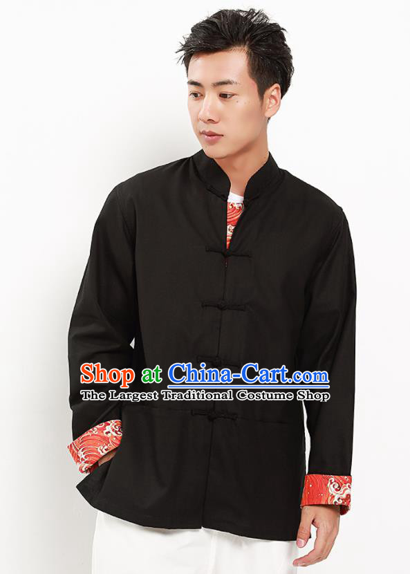 Chinese National Tang Suit Black Flax Shirt Traditional Martial Arts Upper Outer Garment Costumes for Men