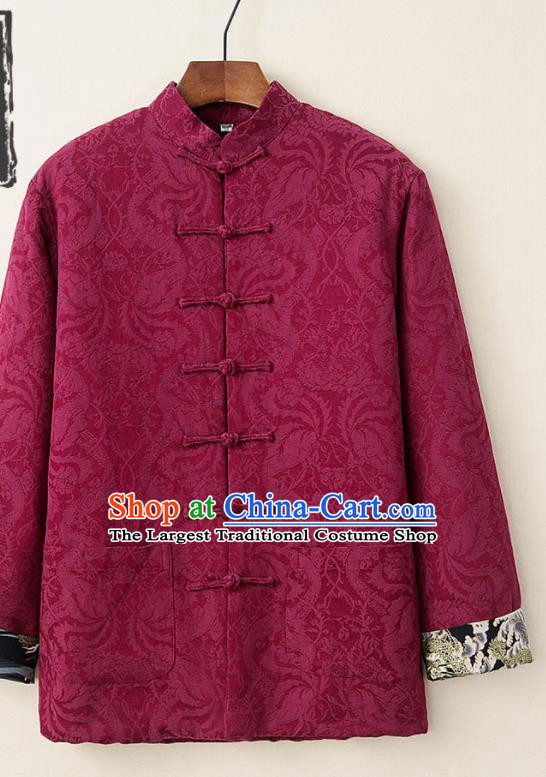 Chinese National Tang Suit Wine Red Thicken Jacket Traditional Martial Arts Costumes for Men