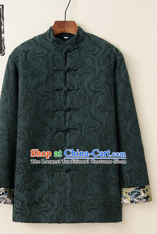 Chinese National Tang Suit Deep Green Thicken Jacket Traditional Martial Arts Costumes for Men