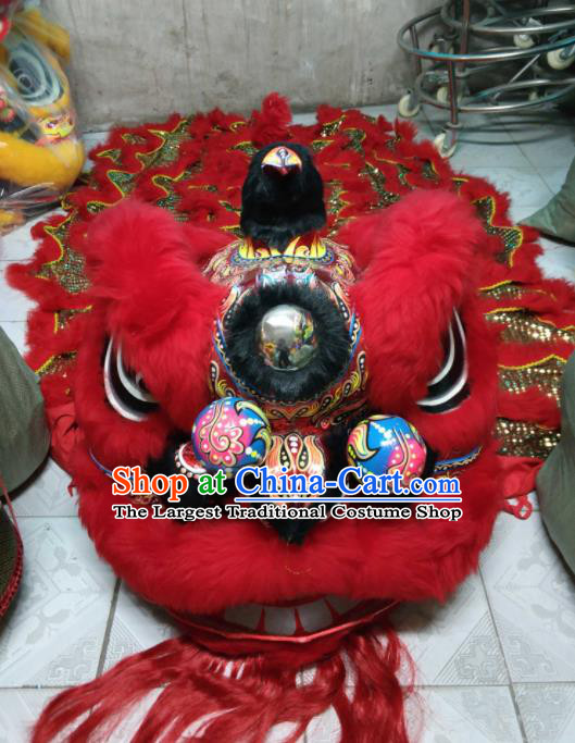 World Lion Dance Competition Red Fur Lion Head Lion Dance Costumes for Adult