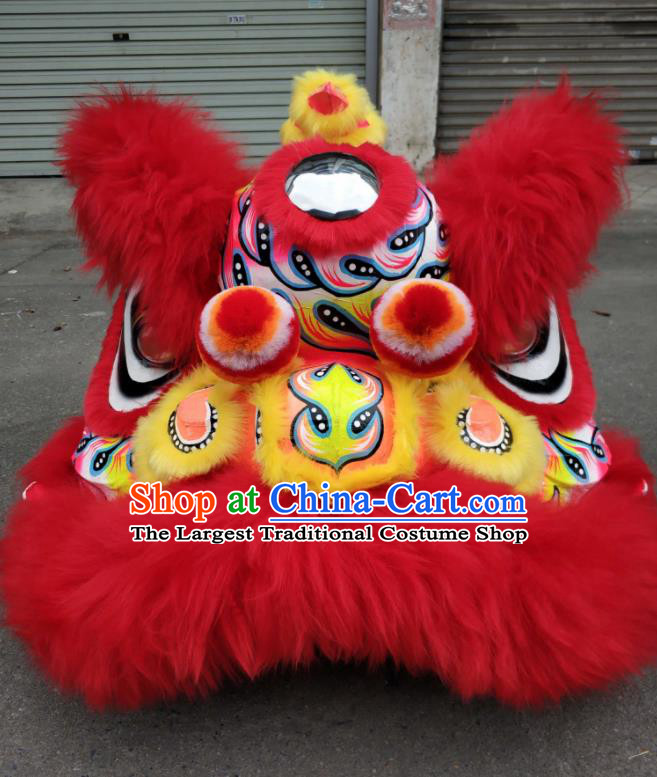 Top World Lion Dance Competition Red Fur Lion Head Lion Dance Costumes for Adult
