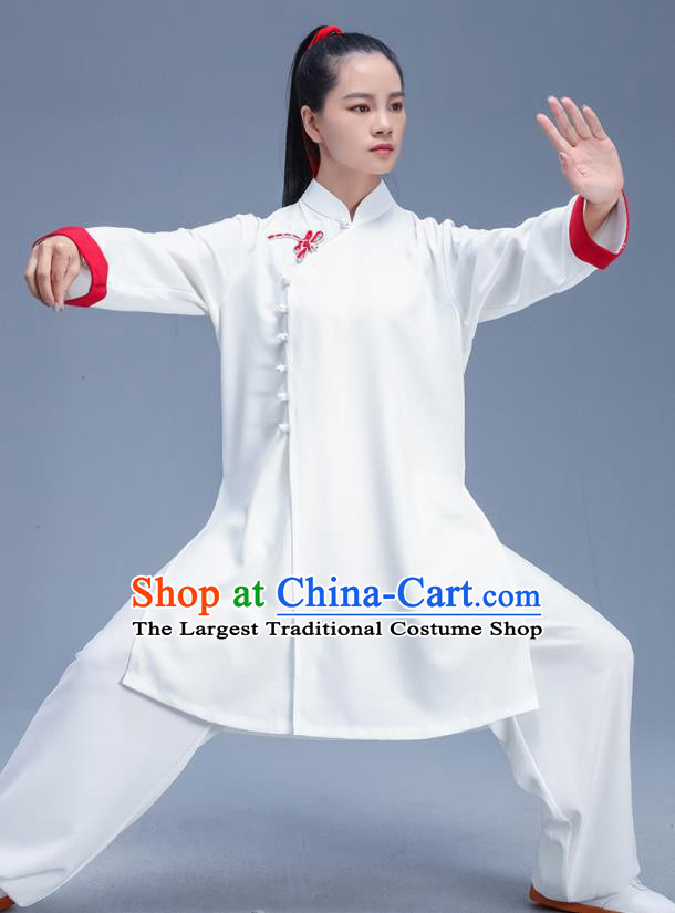Chinese Traditional Kung Fu Competition White Garment Outfits Martial Arts Stage Show Costumes for Women