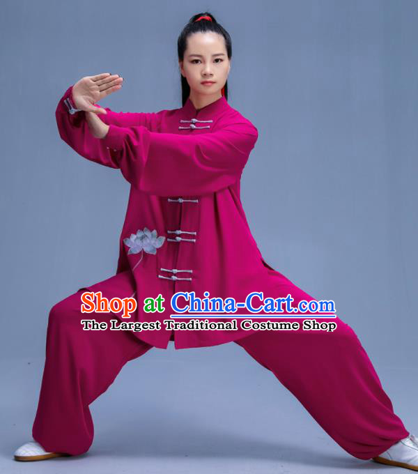 Chinese Traditional Kung Fu Embroidered Lotus Rosy Garment Outfits Martial Arts Stage Show Costumes for Women