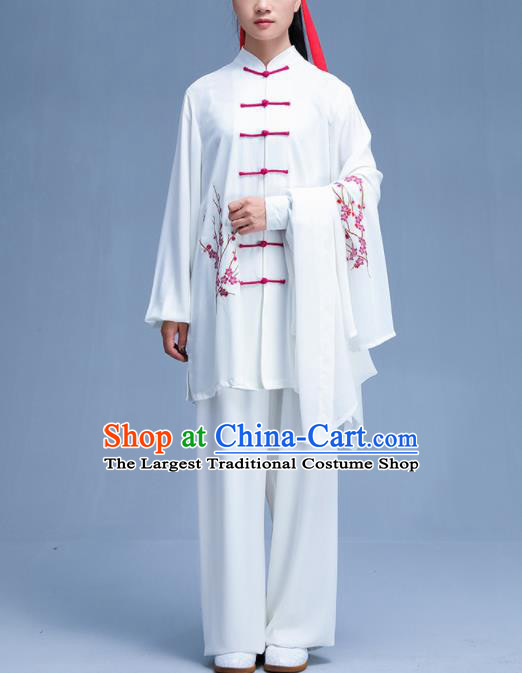 Chinese Traditional Kung Fu Printing Plum White Garment Outfits Martial Arts Stage Show Costumes for Women
