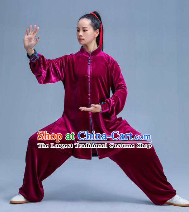 Chinese Traditional Kung Fu Wine Red Velvet Garment Outfits Martial Arts Stage Show Costumes for Women