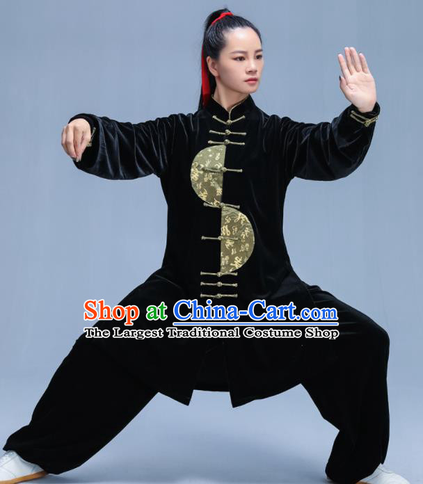 Chinese Traditional Kung Fu Black Velvet Garment Outfits Martial Arts Stage Show Costumes for Women