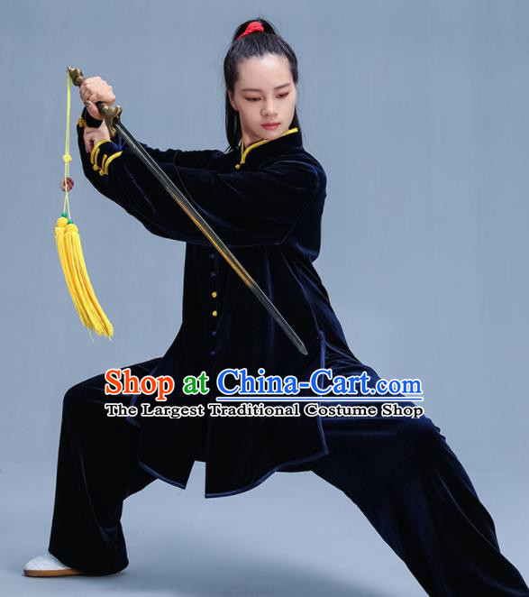 Chinese Traditional Kung Fu Navy Velvet Garment Outfits Martial Arts Stage Show Costumes for Women