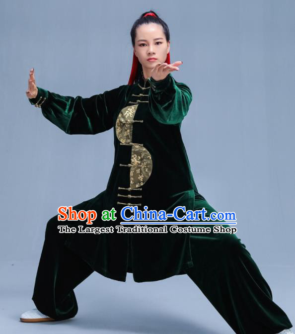 Chinese Traditional Kung Fu Deep Green Velvet Garment Outfits Martial Arts Stage Show Costumes for Women