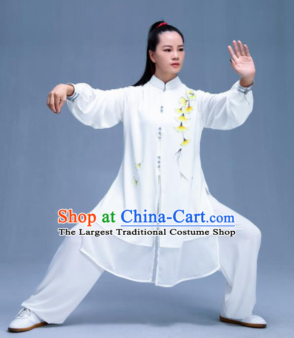 Chinese Traditional Kung Fu Printing Ginkgo Leaf White Garment Outfits Martial Arts Stage Show Costumes for Women