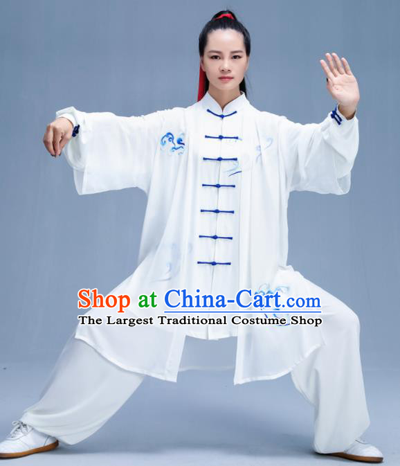 Chinese Traditional Kung Fu Embroidered Cloud White Garment Outfits Martial Arts Stage Show Costumes for Women