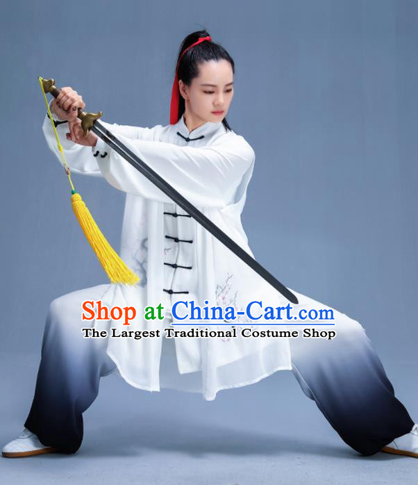 Chinese Traditional Kung Fu Embroidered Plum Blossom Garment Outfits Martial Arts Stage Show Costumes for Women
