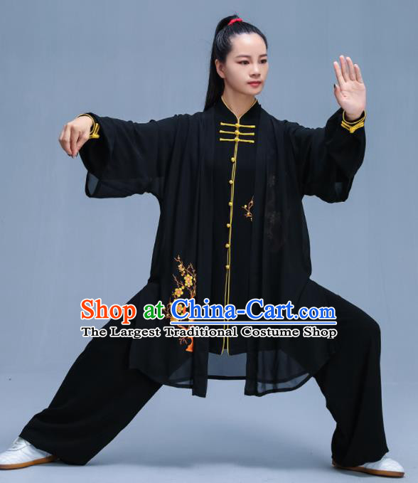 Black Chinese Traditional Kung Fu Embroidered Plum Blossom Garment Outfits Martial Arts Stage Show Costumes for Women