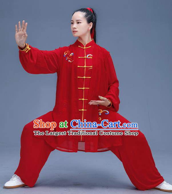 Chinese Traditional Kung Fu Embroidered Cloud Red Garment Outfits Martial Arts Stage Show Costumes for Women