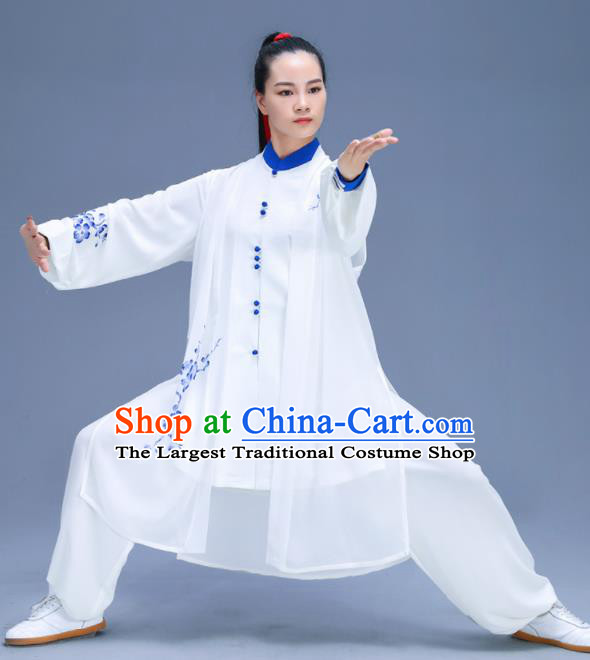 Chinese Traditional Kung Fu Training Printing Plum Blossom White Garment Outfits Martial Arts Stage Show Costumes for Women