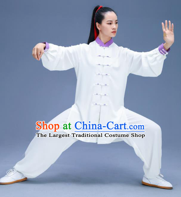 Chinese Traditional Kung Fu Training White Garment Outfits Martial Arts Stage Show Costumes for Women