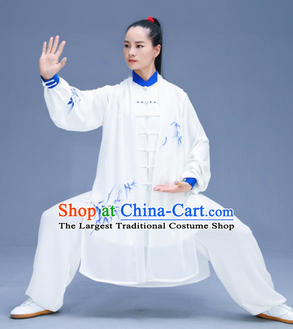 Chinese Traditional Kung Fu Training Printing Bamboo White Garment Outfits Martial Arts Stage Show Costumes for Women