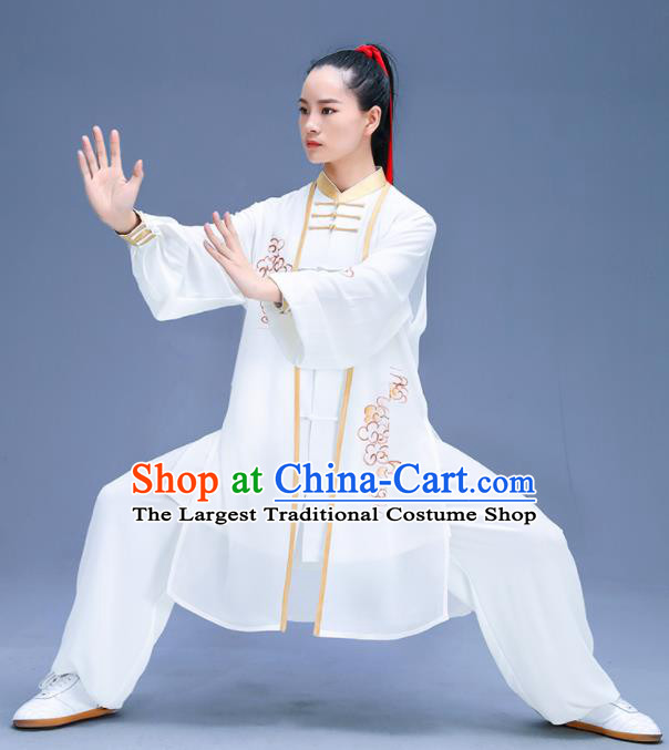 Chinese Traditional Kung Fu Training Printing Clouds White Garment Outfits Martial Arts Stage Show Costumes for Women