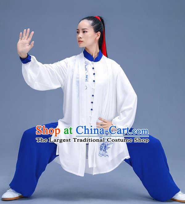 Chinese Traditional Kung Fu Training Embroidered Peony White Garment Outfits Martial Arts Stage Show Costumes for Women