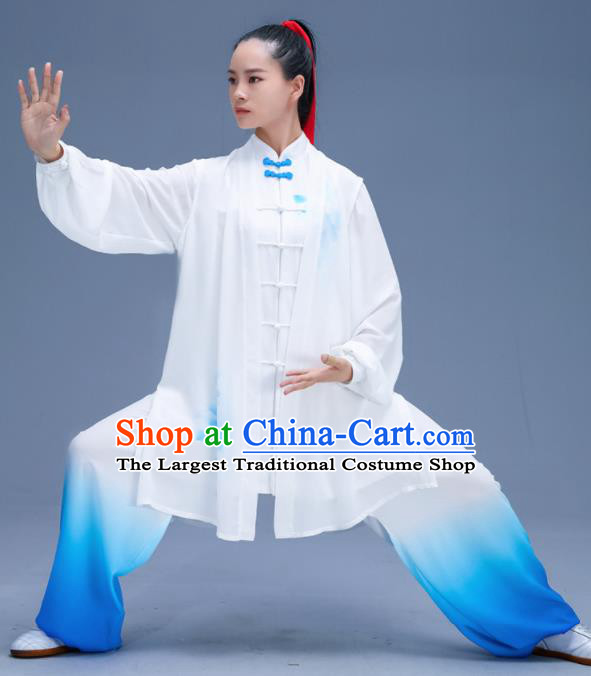 Chinese Traditional Kung Fu Training Gradient Blue Garment Outfits Martial Arts Stage Show Costumes for Women