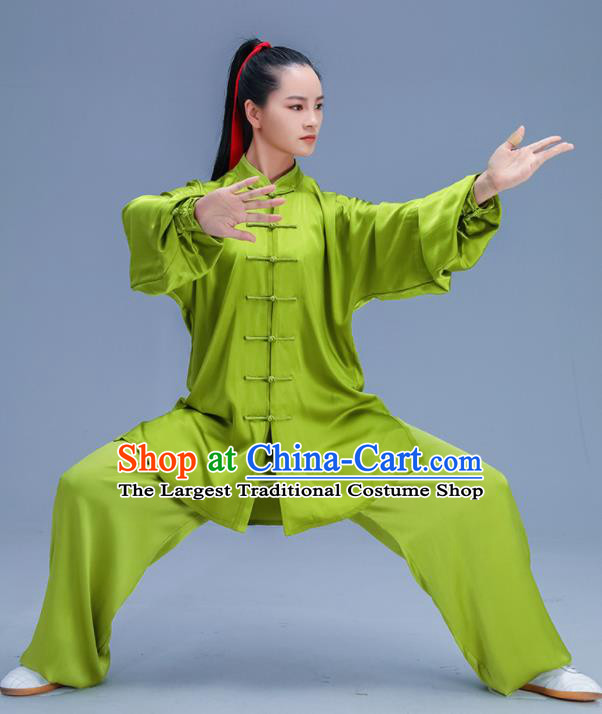 Chinese Traditional Kung Fu Training Green Silk Garment Outfits Martial Arts Stage Show Costumes for Women