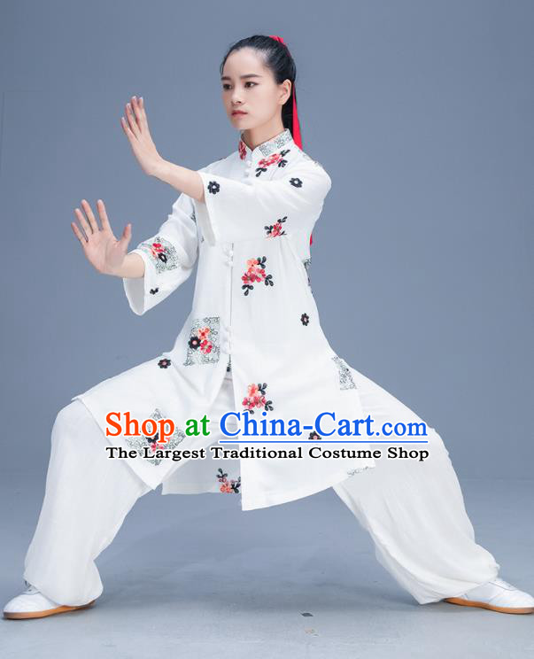 Chinese Traditional Kung Fu Tai Chi Training Printing White Garment Outfits Martial Arts Stage Show Costumes for Women