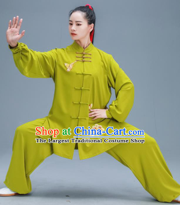 Chinese Traditional Kung Fu Tai Chi Training Embroidered Peony Ginger Garment Outfits Martial Arts Stage Show Costumes for Women