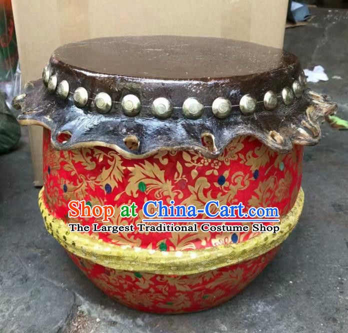 Chinese Lion Dance Cowhide Red Drum Traditional Lion Dance Musical lnstruments Drum
