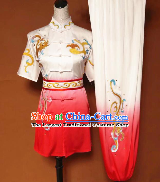 Chinese Tai Chi Changquan Embroidered Dragon Garment Outfits Traditional Kung Fu Martial Arts Costumes for Adult