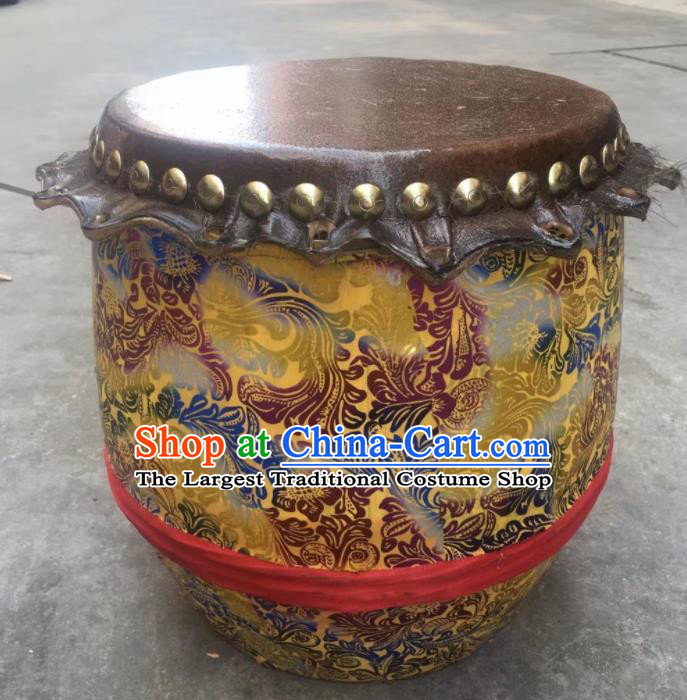 Chinese Lion Dance Cowhide Yellow Drum Traditional Lion Dance Musical lnstruments Drum