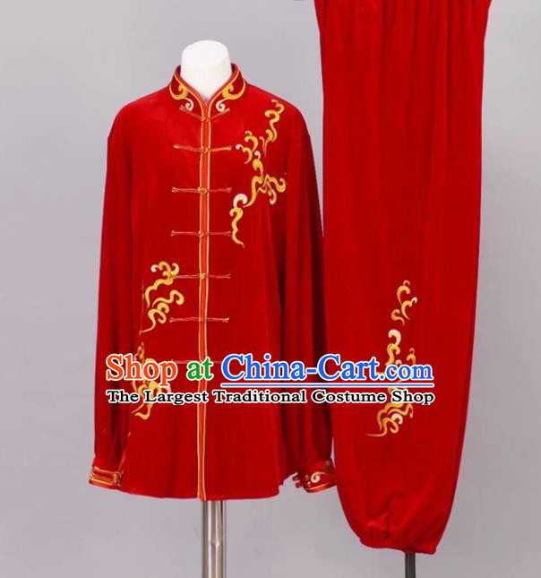 Chinese Tai Chi Red Velvet Garment Outfits Traditional Kung Fu Martial Arts Training Costumes for Adult