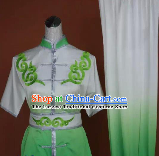 Chinese Martial Arts Changquan Embroidered Green Garment Outfits Traditional Tai Chi Kung Fu Costumes for Adult