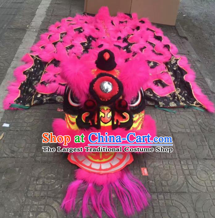 Top Chinese World Lion Dance Competition Rosy Fur Lion Head Lion Dance Costumes for Adult