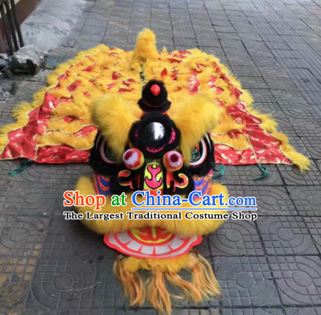 Top Chinese Traditional Lion Dance Competition Yellow Fur Lion Head Lion Dance Costumes for Adult