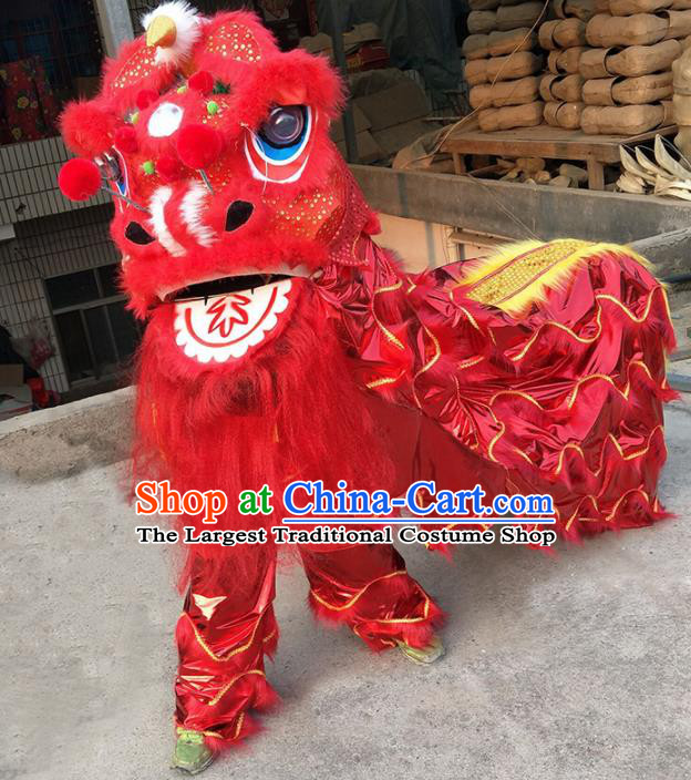 Chinese Traditional Lion Dance Competition Red Lion Head Top Lion Dance Costumes for Kids