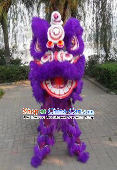 Chinese Traditional Lion Dance Purple Fur Lion Head Top Lion Dance Competition Costumes for Adult