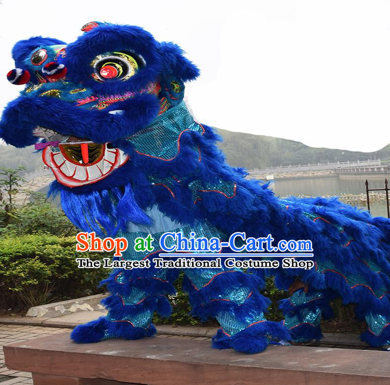 Chinese Traditional Lion Dance Royalblue Fur Lion Head Top Lion Dance Competition Costumes for Adult