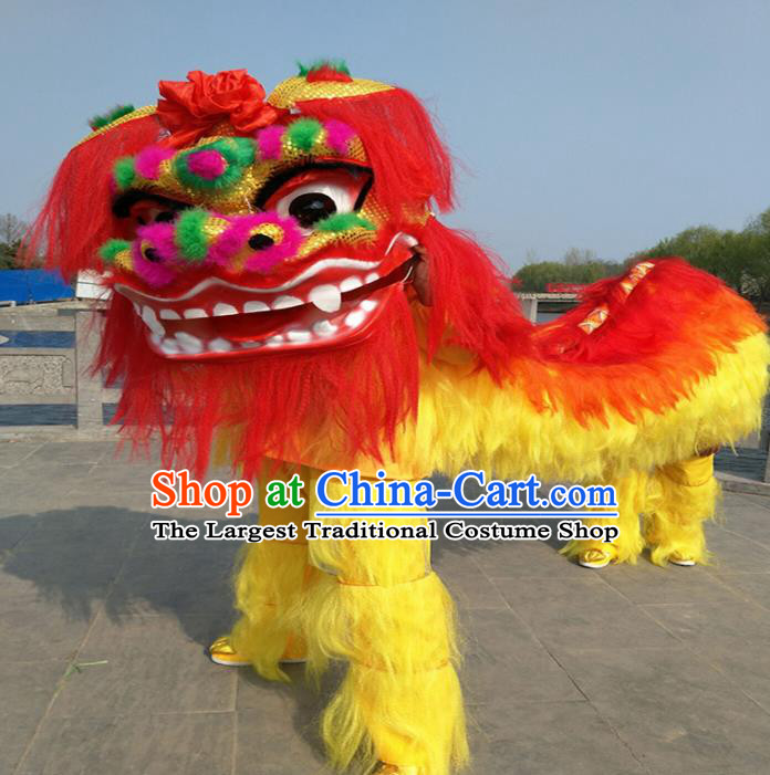 Chinese Traditional Lion Dance Fur Lion Head Top Lion Dance Competition Costumes for Adult
