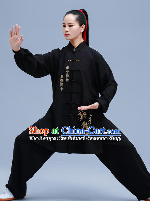 Chinese Traditional Kung Fu Embroidered Black Outfit Martial Arts Competition Costumes for Women