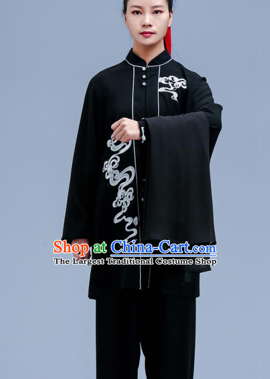 Chinese Traditional Kung Fu Black Chiffon Outfit Martial Arts Competition Costumes for Women