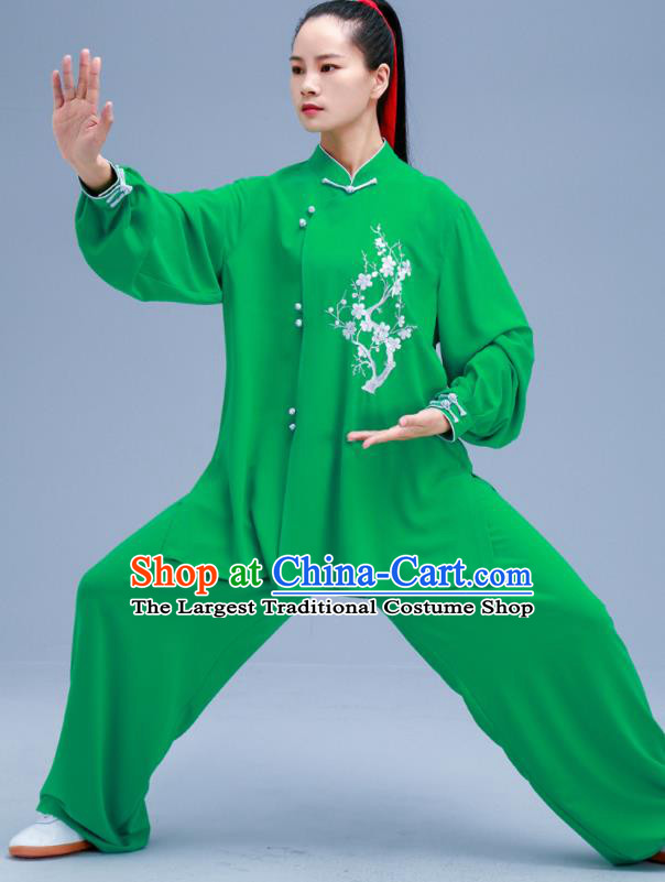 Chinese Traditional Kung Fu Embroidered Plum Green Outfits Martial Arts Competition Costumes for Women