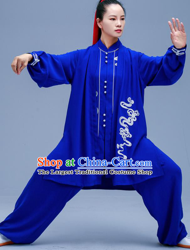 Chinese Traditional Kung Fu Embroidered Royalblue Outfits Martial Arts Competition Costumes for Women