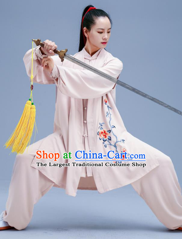 Chinese Traditional Kung Fu Embroidered Peony Beige Outfits Martial Arts Competition Costumes for Women