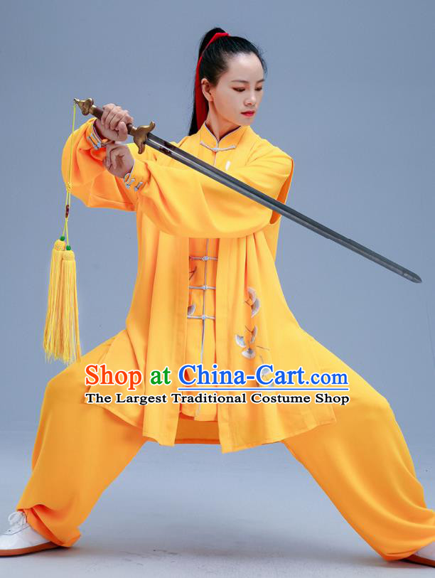 Chinese Traditional Kung Fu Embroidered Ginkgo Leaf Yellow Outfits Martial Arts Competition Costumes for Women