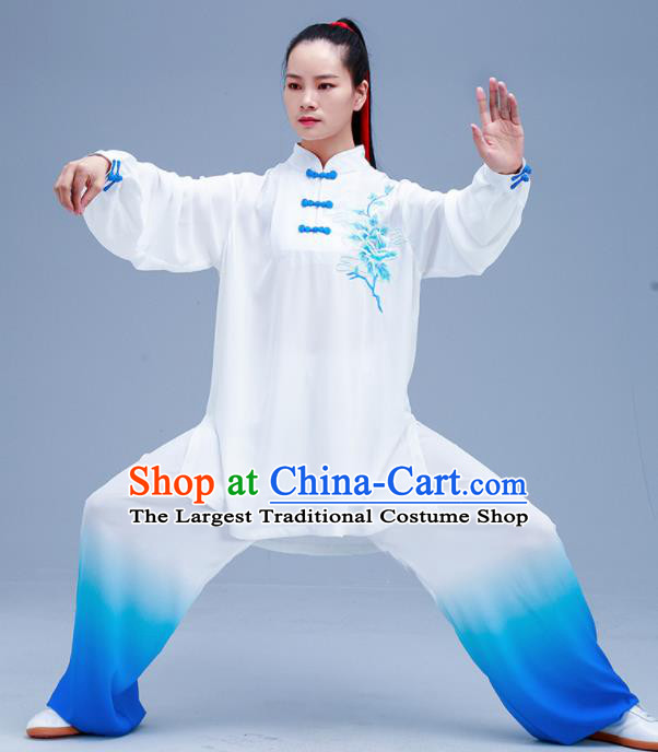 Chinese Traditional Kung Fu Gradient Blue Outfits Martial Arts Competition Costumes for Women