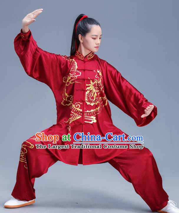 Chinese Traditional Kung Fu Red Silk Outfits Martial Arts Competition Costumes for Women