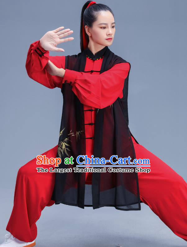 Chinese Traditional Kung Fu Printing Bamboo Red Outfits Martial Arts Competition Costumes for Women