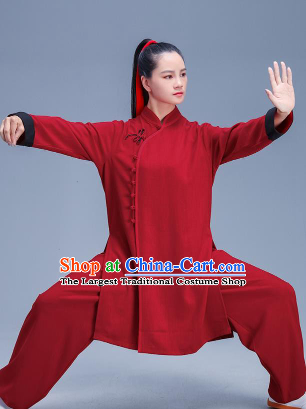 Chinese Traditional Kung Fu Stage Show Red Outfits Martial Arts Competition Costumes for Women