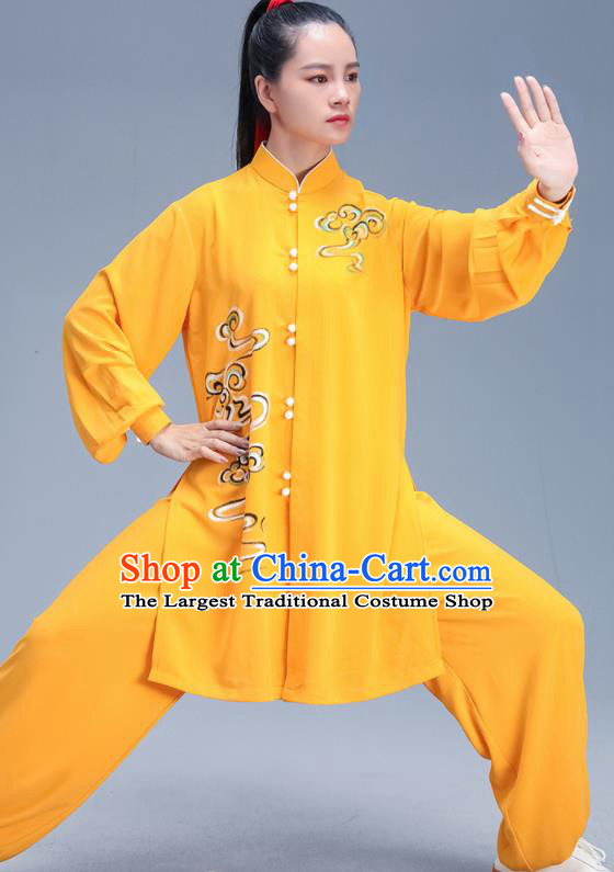 Chinese Traditional Kung Fu Competition Printing Yellow Outfits Martial Arts Stage Show Costumes for Women