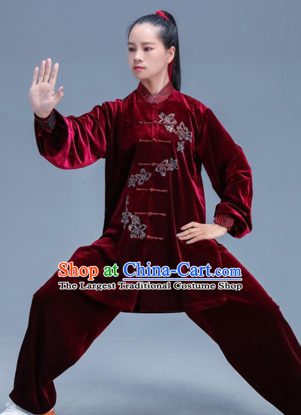 Chinese Traditional Kung Fu Competition Wine Red Velvet Outfits Martial Arts Stage Show Costumes for Women