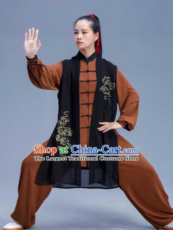 Chinese Traditional Kung Fu Competition Brown Outfits Martial Arts Stage Show Costumes for Women